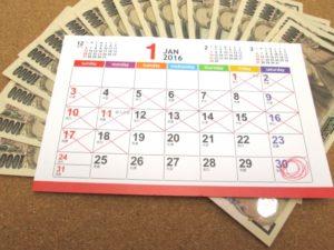 返済日を印したカレンダー